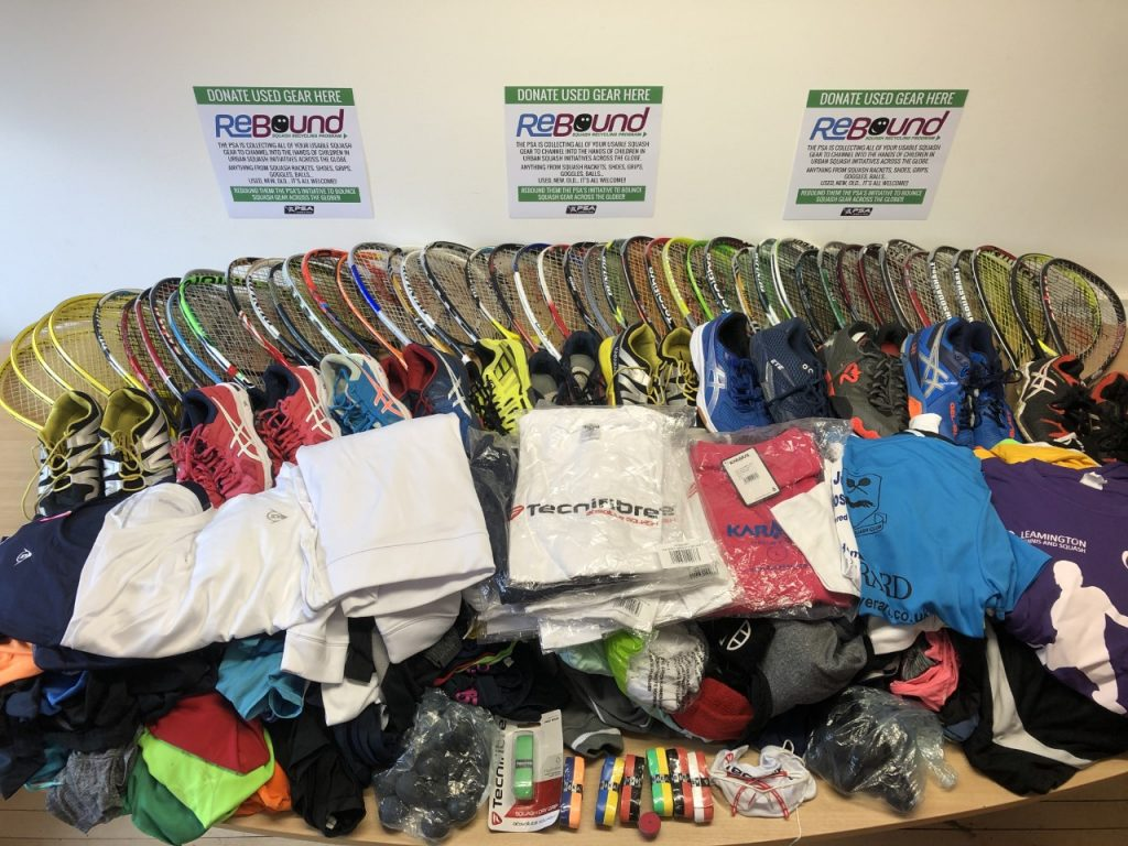 donated squash kit from england squash